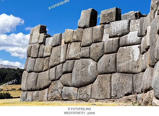 Peru, Andes, Cusco, stone wall at the Inca ruins of Sacsayhuaman