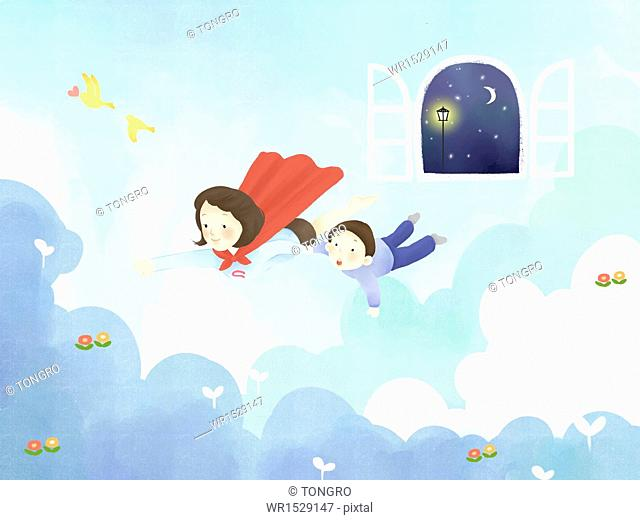 a mother and a child flying into dream world