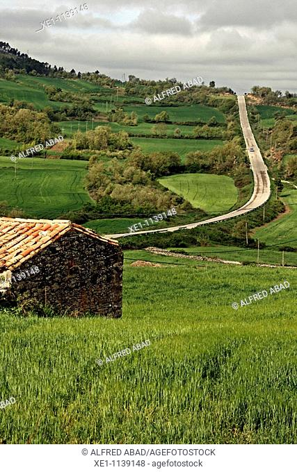 Fields and a road, Solsones, Catalonia, Spain