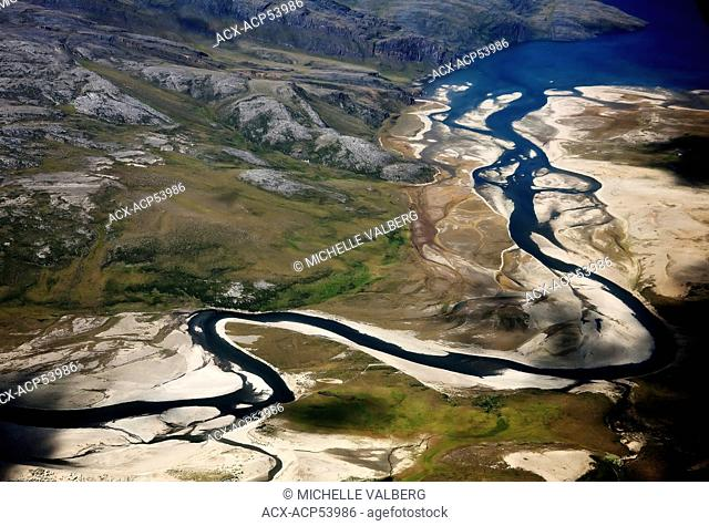 Aerial view of river Nunavik, Northern Quebec