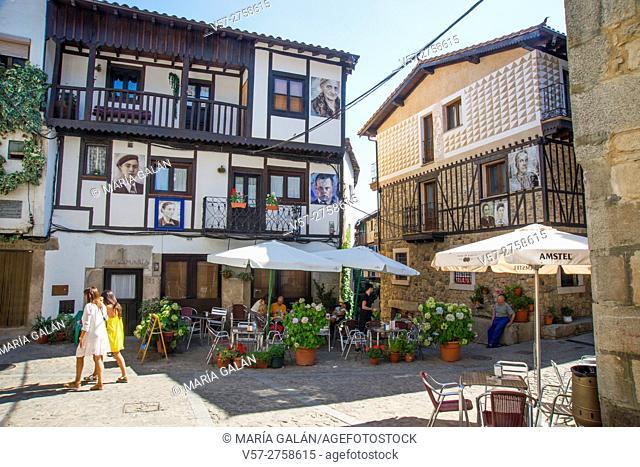 Street and terrace. Mogarraz, Sierra de Francia Nature Reserve, Salamanca province, Castilla Leon, Spain