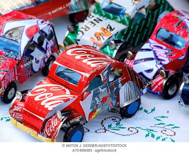 Toy cars made from beverage cans