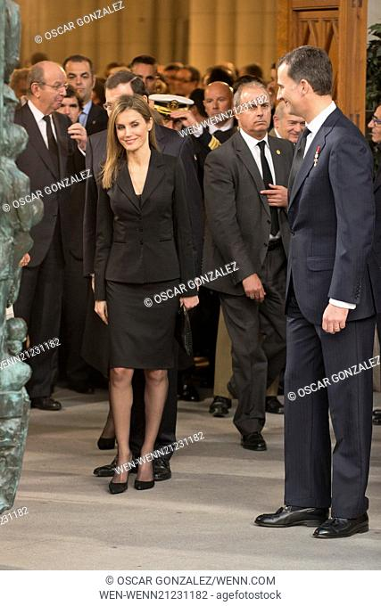 State funeral for former Spanish president Adolfo Suarez held at Almudena Cathedral. Suarez died March 23, aged 81. Featuring: Prince Felipe of Spain