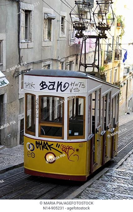 Graffiti, tags on tram, old town, Lisbon
