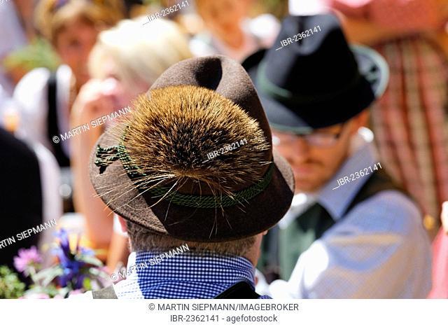 Men wearing hats with tufts of chamois hair, Pfeifertag festival on Niedergadenalm alp, Strobl, Salzburg state, Salzkammergut resort area, Austria, Europe