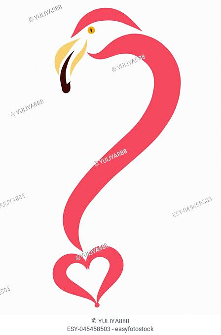 Creative question mark from flamingo and heart