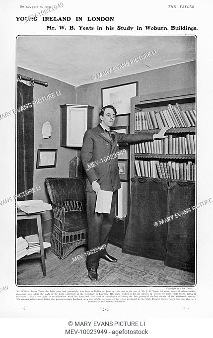 WILLIAM BUTLER YEATS Irish poet and dramatist in his study at Woburn Buildings, London
