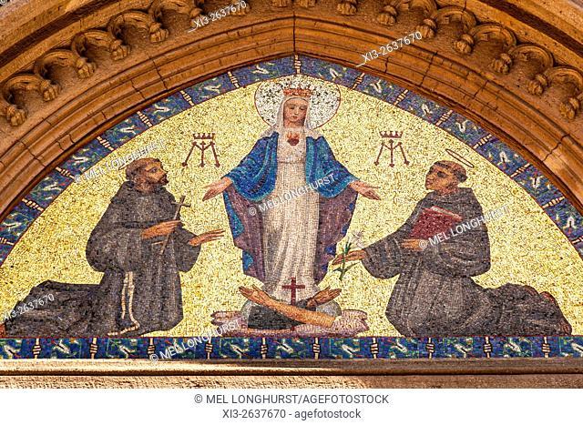 Mosaic of Virgin Mary and two Saints, Saint Anthony of Padua Roman Catholic Church, Beyoglu, Istanbul, Turkey