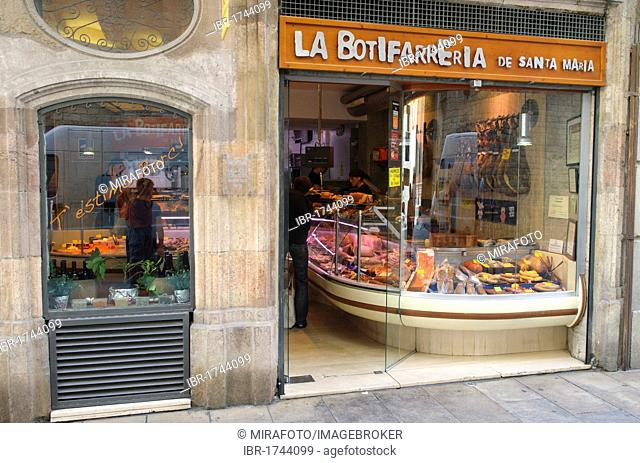Butcher's shop in Barcelona, Spain, Europe