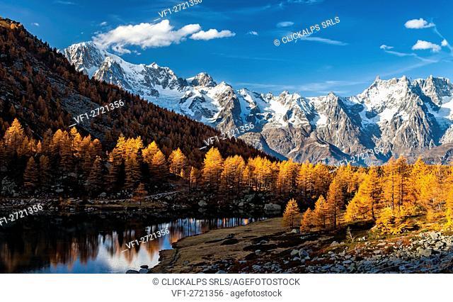 Autumn, Arpy lake,morgex, Mont Blanc chain, , Grand Jorasses,Aosta Valley,