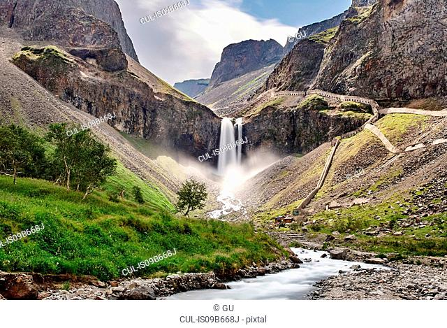 Changbai Mountain waterfall, Fusong, Jilin, China