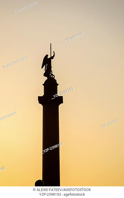 Alexander Column with Angel holding a cross at Winter Palace Square in St. Petersburg, Russia