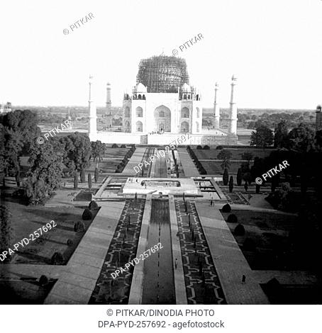old vintage lantern slide of construction taj mahal, Agra, uttar pradesh