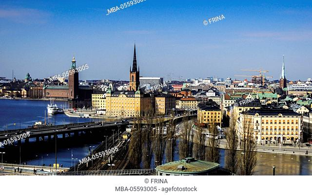 Cityscape, Stockholm, view on districts Riddarholmen, Gamla Stan and Kungsholmen
