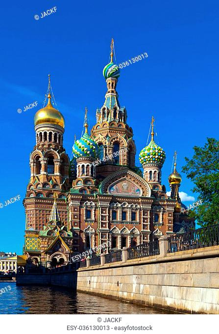 Church of the Savior on Spilled Blood in St. Petersburg in summer. Russia