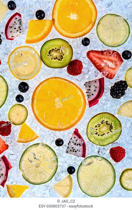 Close up of fruit mix served on ice drift