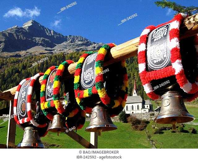 Cow-bell, decorated for the driving of the cattle down from the mountain pastures in autumn, South tyrol, Italy