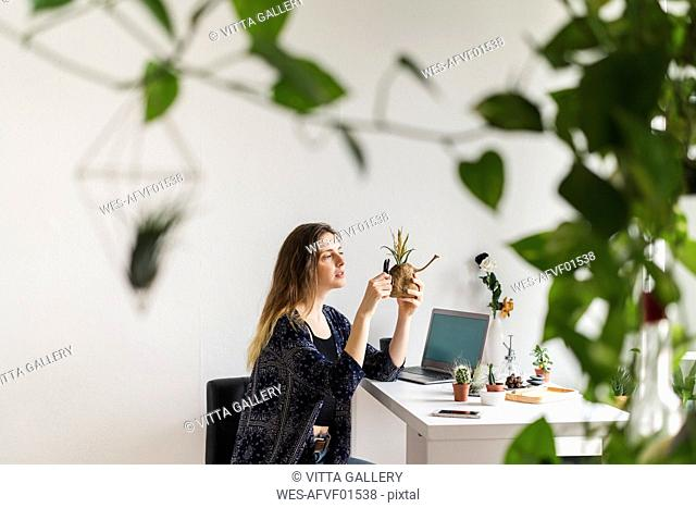 Young woman with laptop at home caring for plants