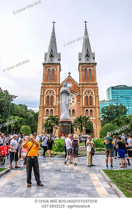 Notre Dame Cathedral, built by the French between 1877 and 1883. Ho Chi Minh City. Vietnam