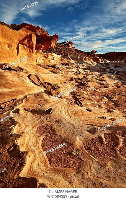 Sandstone pattern under clouds, Gold Butte, Nevada, United States of America, North America