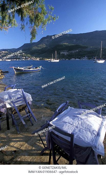 Vathy, restaurant, tables Ithaki, Ionian Islands, Greece