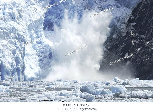The Sawyer Glacier calving, a tidewater glacier at the end of Tracy Arm in Southeast Alaska, USA