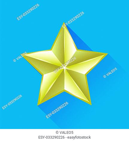 Single Gold Star Isolated on Blue Background