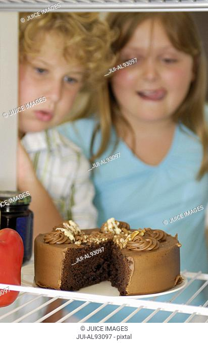 Brother and sister looking at cake