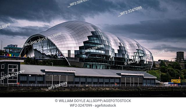 The Sage Gateshead above HMS Calliope which is the principal Royal Naval Reserve training unit for the North East of England