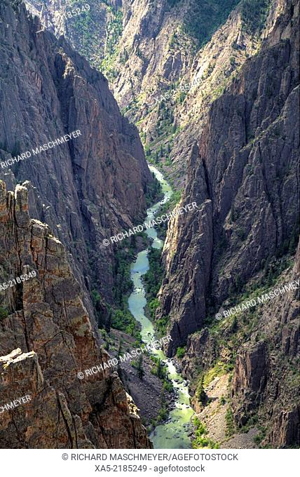 Gunnison River deep in the canyon, Black Canyon of the Gunnison National Park, Colorado, USA