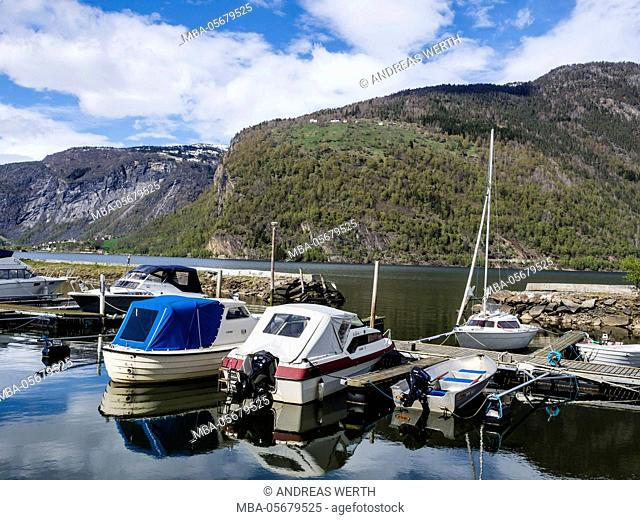 Marina of village Marifjöra, at the Lustrafjord, the inner section of the Sognefjord, Sogn og Fjordane, Norway