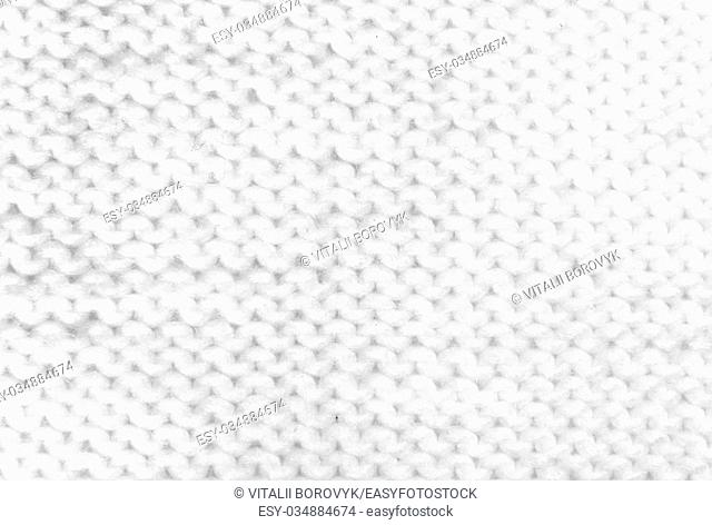 White Knitting Woolen Texture Isolated On White Background