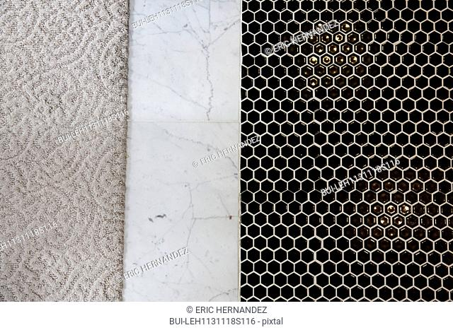Detail shot of mosaic; marble and carpeted floor; Irvine; California; USA