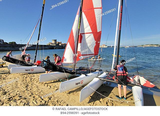 Catamarans, multi-hulled watercraft. Fort of Sokoa and Ciboure beach, Pyrénées-Atlantiques department, Aquitaine region. South Western France
