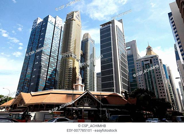 Downtown Singapore Skyscrapers at business district. Telok Ayer Market in front