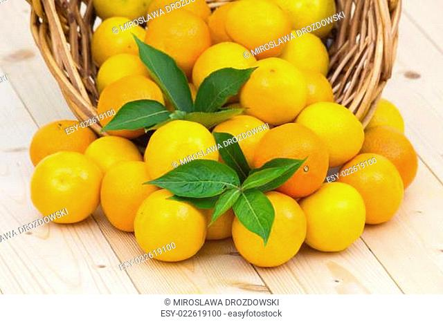 fresh tangerines on the table