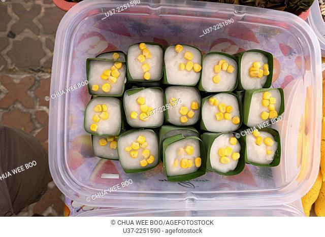Coconut desserts with corn toppings, Simunjan, Sarawak, Malaysia