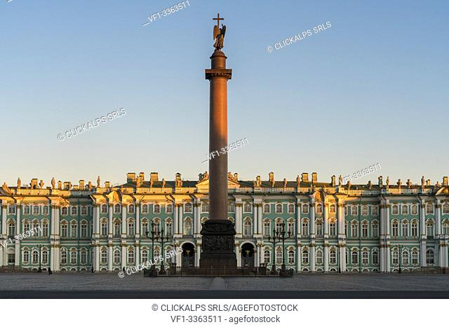 Winter Palace and Alexander column in Palace square at dawn. Saint Petersburg, Russia