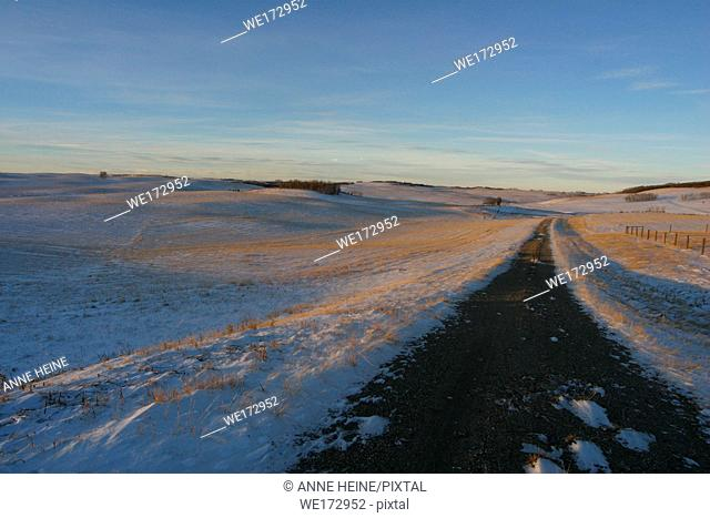 Wide open landscape in winter with road. Near Bearspaw northwest of Calgary, Alberta, Canada