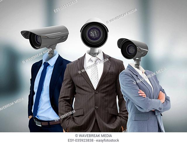 Businessman with CCTV head at office