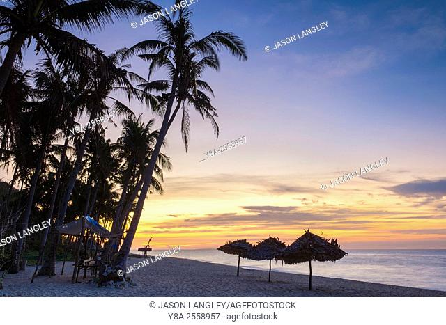 Puka Shell Beach at sunset, Boracay Island, Aklan Province, Western Visayas, Philippines