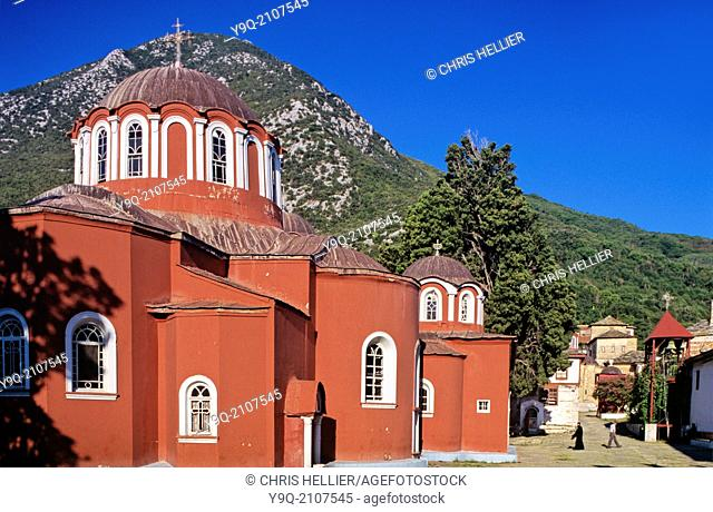 Catholicon or Main Church Great Lavra Monastery Mount Athos Greece