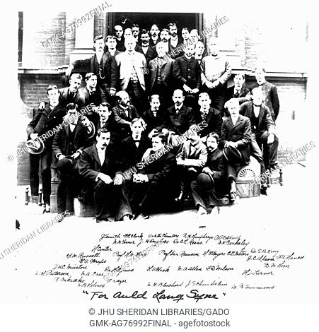The Johns Hopkins University Chemistry department gathered on the steps to an academic building on the Homewood campus in Baltimore, Maryland, 1898