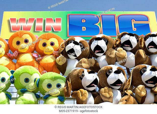 Stuffed toys to be won at a funfair