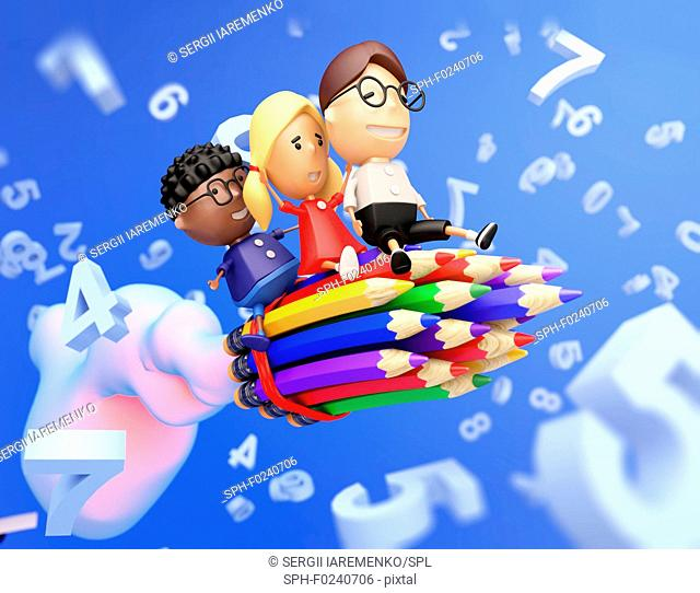 Funny school kids on a rocket made from pencils fly through the digits. Education concept. 3D illustration
