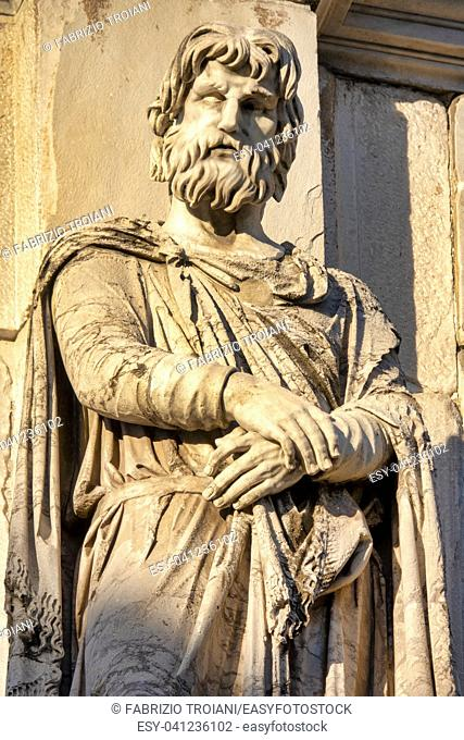 Detail of the statues of the Arch of Constantine, Rome Italy