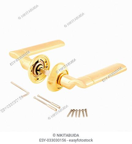Door Knob assembly with bolts on White Background