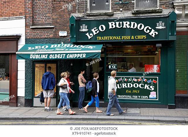 people queue outside leo burdocks fish and chip shop dublins oldest chipper dublin republic of ireland
