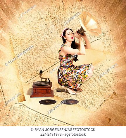 Old music inspired artwork of retro girl making a song with phonograph megaphone on vintage gig guide. Live music pinup singer