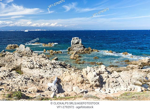 White rocky cliffs framed by the turquoise sea Santa Teresa di Gallura Province of Sassari Sardinia Italy Europe